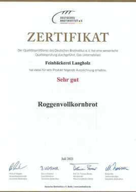 """Urkunde """"Sehr gut"""" Roggenvollkornbrot"""